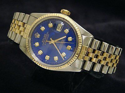 $ CDN7268.54 • Buy Rolex Datejust Mens 18k Gold & Steel Watch W/ Submariner Blue Diamond Dial 16013