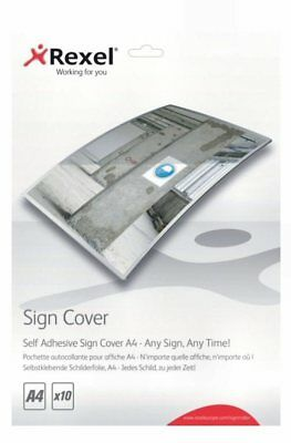 Rexel Self-Adhesive A4 Sign Signmaker Cover Pack Of 10 Laminating 2104249 Z7RS+ • 5.99£