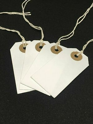 £1.95 • Buy White Strung Tie On Tags String Luggage Labels Wedding Craft Gifts