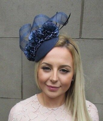 Navy Blue Flower Feather Pillbox Hat Hair Fascinator Races Ascot Wedding 5299 • 31.95£