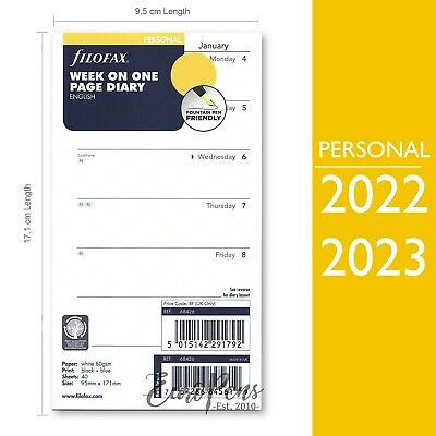 £5.95 • Buy Filofax Personal 2022 Or 2023 Week On One Page Diary Insert English (68426)