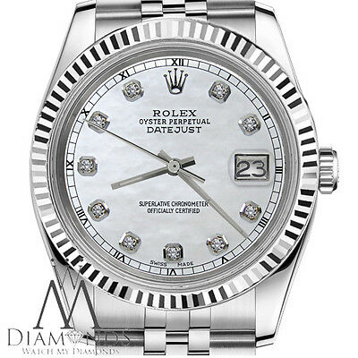 $ CDN8903.95 • Buy Rolex 36mm Datejust 18K White Gold & SS White MOP Mother Of Pearl Diamond Dial