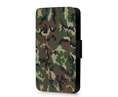 Army Military Woodland Camouflage Camo Faux Leather Phone Flip Case Cover Wallet • 10.19£