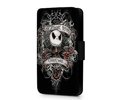 Nightmare Before Christmas Jack Skellington Faux Leather Phone Flip Case Cover • 10.19£