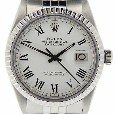 $ CDN5236.02 • Buy Rolex Datejust Stainless Steel Watch White & Black Roman Dial Jubilee Band 16030