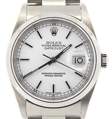 $ CDN6167.66 • Buy Rolex Datejust Mens Stainless Steel Oyster Watch White Dial Domed Bezel 16200
