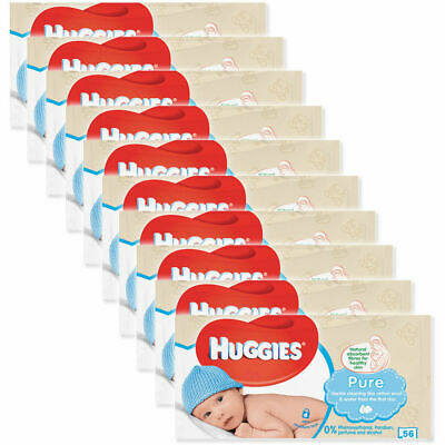 AU37 • Buy 10x Huggies 56 Wipes Pure Soft Gentle Baby Wipe/Natural Fibres/Sensitive Skin