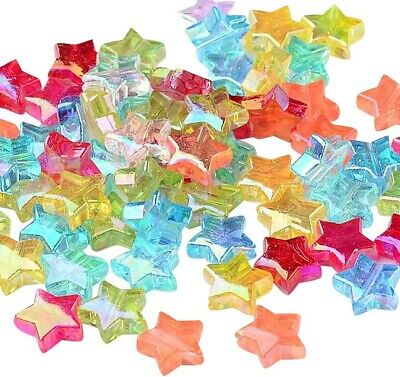 £0.99 • Buy ❤ 50 X Acrylic STAR Spacer Beads AB Colour 10mm Jewellery Making UK Stock ❤