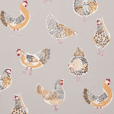 Clarke And Clarke Rooster Chicken Grey Cotton  WIPE CLEAN Tablecloth Oilcloth • 13.99£