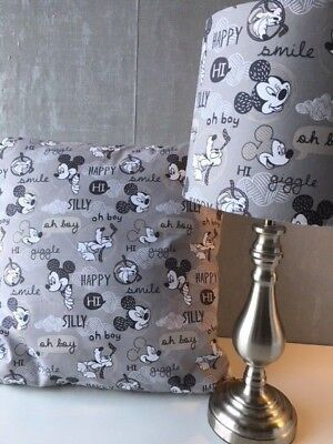 SHOP Mickey Mouse 'Oh Boy!' Range Of Curtains/Cushions/Lampshades In Soft Grey • 25£