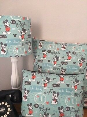 SHOP Mickey Mouse 'HAPPY' Range Of Curtains/Cushions/Lampshades In Mint Green • 25£