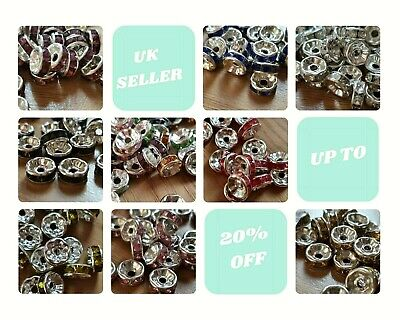 50 RONDELLE RHINESTONE SPACER BEADS Gold/Silver 8mm Various Colours  • 2.39£