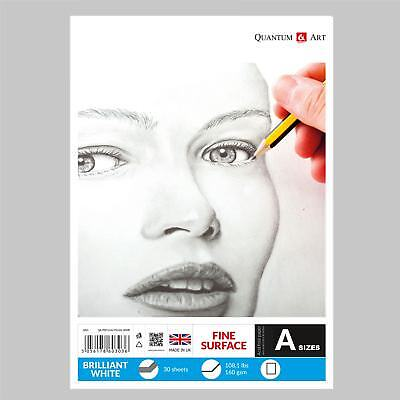 160gsm Sketch Pad Smooth White Drawing Artist Paper GUMMED Book • 7.99£