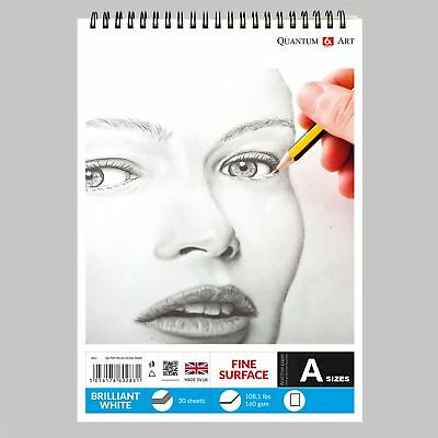 160gsm Sketch Pad Smooth White Drawing Artist Paper On SPIRAL Book • 7.99£