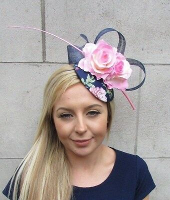Navy Blue Light Pink Rose Flower Feather Pillbox Hat Hair Fascinator Floral 5514 • 28.95£