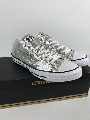 b869492c6de4 Converse All Star Sneakers Shoes Silver Sparkle Low Womens-13 Mens-11 NEW •