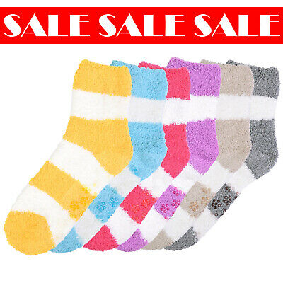 $12.99 • Buy 6 Pcs Women Cozy Plush Fluffy Stripes Soft Crew Warm Winter Non Skid Socks 9-11