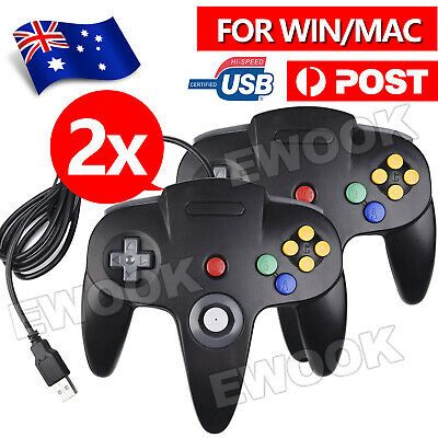 AU26.95 • Buy 2X New For NINTENDO 64 N64 GAMES CLASSIC GAMEPAD CONTROLLERS FOR USB TO PC/ MAC