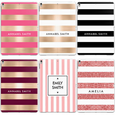 Personalised Name/initials/text Custom Striped Hard Case Cover For Apple Ipad • 12.95£