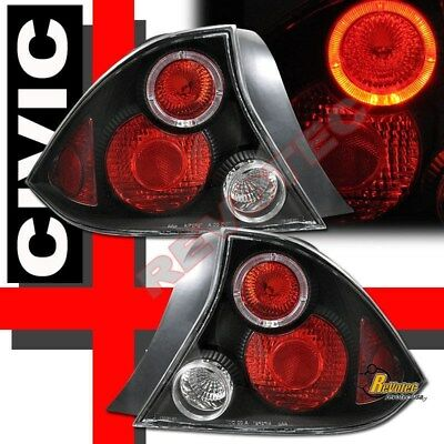 $85 • Buy Black Halo Tail Lights For 01 02 03 Honda Civic LX DX EX HX 2-Door Coupe
