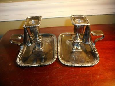 Vtg 1940s Silver Plated Pair Chamber Sticks Candle Holders W/ Snuffer • 38.84£