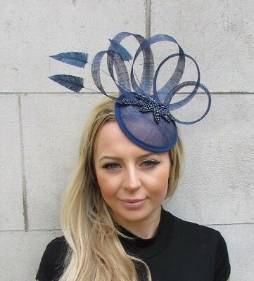 Navy Blue Sinamay Feather Pillbox Hat Fascinator Races Wedding Hair Clip 5623 • 29.95£