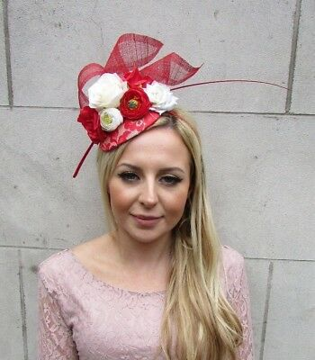Red Cream Ivory Rose Flower Feather Hat Fascinator Races Hair Wedding 5659 • 32.95£