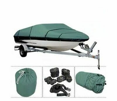 Coverandcarry Green Heavy Duty Polyester Backed Waterproof Speedboat Boat Cover • 80£