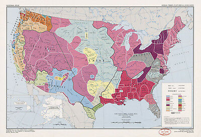 £21.69 • Buy US Map Of Indian Tribes, Cultures & Languages Native American History Art Poster