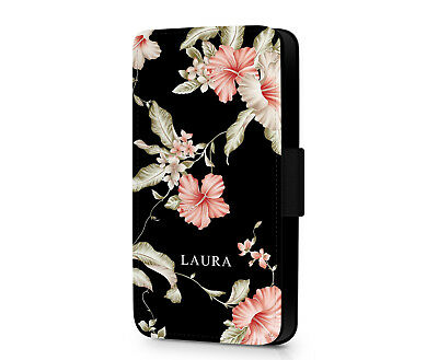New FLORAL PERSONALISED NAME Roses Flowers Faux Leather Phone Flip Case Cover • 10.19£
