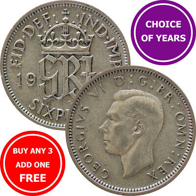 £0.99 • Buy Sixpence : 1947-1952 George VI : Lucky Birthday Wedding 6d Coin : Choose Year