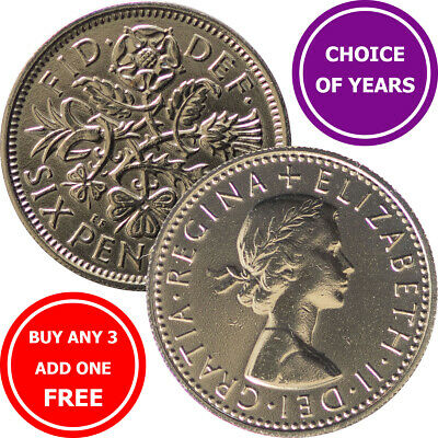 Sixpence : 1953-1967 Elizabeth II : Lucky Birthday Wedding 6d Coin : Choose Year • 0.99£