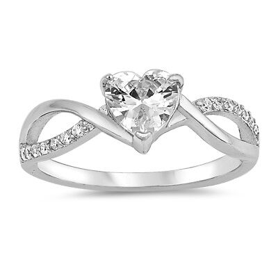 $12.58 • Buy Solitaire Clear CZ Heart Promise Ring New .925 Sterling Silver Band Sizes 4-10