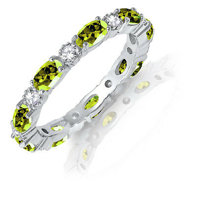 £57.34 • Buy Oval Peridot CZ Eternity Stackable And Round Clear CZ Genuine Silver Ring