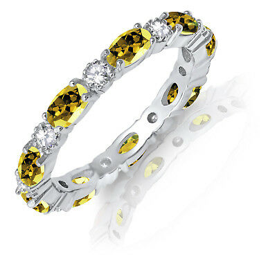 £52.98 • Buy Oval Yellow Topaz CZ Eternity Stackable And Round Clear CZ Genuine Silver Ring