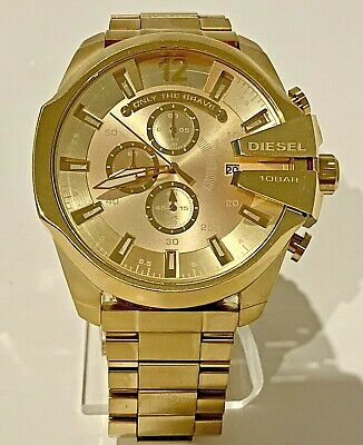 $119.99 • Buy Diesel Mega Chief DZ4360 Gold / Champagne Chronograph Dial Gold-Tone Men's Watch