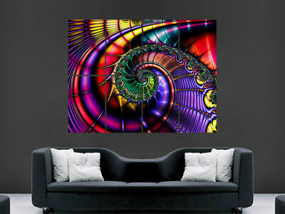 £17.99 • Buy Trippy Poster Psychedelic Fractal Picture Huge  Giant Wall Art