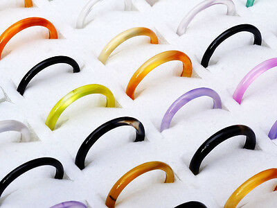 $ CDN5.24 • Buy 20 Pcs Wholesale Jewelry Lots Chic Natural Agate Gemstone Mix Colorful Ring H