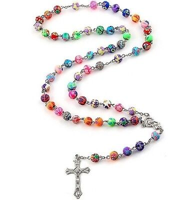 Pearl Rosary Beads Rosary Necklace Catholic Prayer Beads Cross Gold Silver Chain • 4.95£