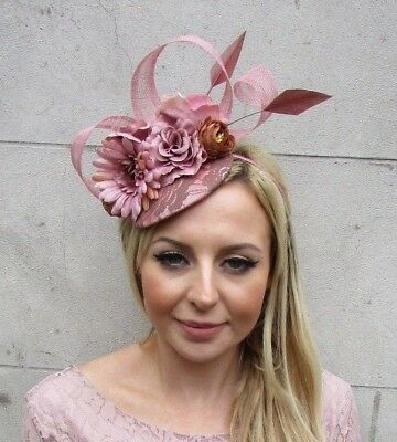 Light Brown Blush Dusky Dusty Pink Flower Feather Hat Hair Fascinator Races 5683 • 33.95£