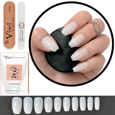 100x SHORT COFFIN FALSE NAILS ✔ Full Cover Opaque Stick On Tips💖 FREE Vixi GLUE • 5.99£