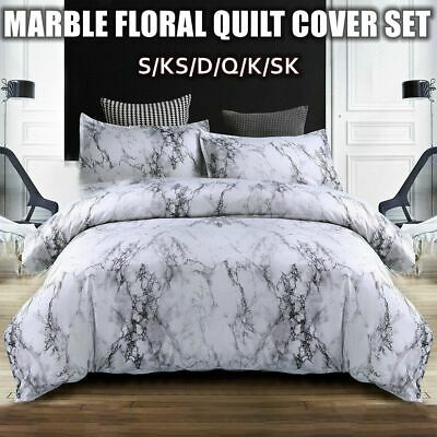 AU33.84 • Buy Marble Doona Duvet Quilt Cover Set King/Queen/Double Size Bed Covers Pillowcase