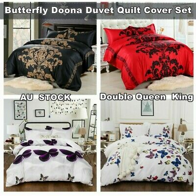 AU39.59 • Buy Butterfly Animal Doona Quilt Cover Set Double/Queen/King Size Duvet Bed Cover