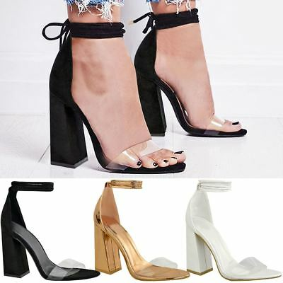 £21.99 • Buy New Womens Perspex Clear Block Heel Strappy Sandals Ankle Lace Tie Up Size