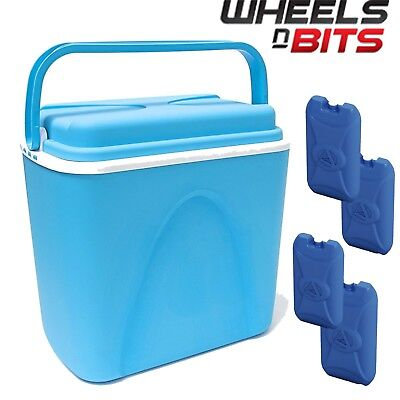 £16.99 • Buy 24L COOLBOX LARGE BLUE COOLER BOX CAMPING PICNIC FOOD INSULATED LITRE + 4 ICE Pk