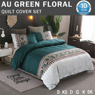 AU32.43 • Buy Green Floral Quilt Doona Duvet Cover Set Double/Queen/King/Size Bedding Covers