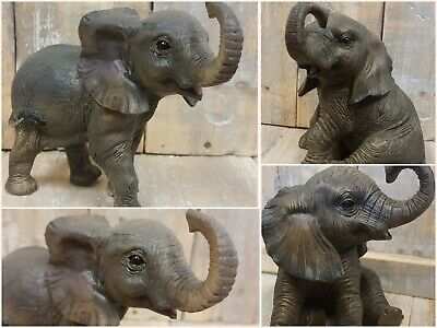 £13.95 • Buy Standing Sitting Baby Elephant Calf Out Of Africa Ornament Decoration Gift Boxed