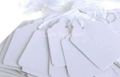 £2.60 • Buy 100 White Strung Tickets 70 X 43 Mm Price Tags String Swing Labels 70mm X 43mm