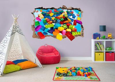 Lego Bricks Blast Explosion 3D Smashed Wall Sticker Decal Home Art Mural J1256 • 12.99£
