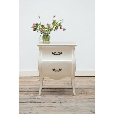 £159 • Buy Rococo Style Matt Silver Storage Furniture Bedroom 2 Drawer Bedside Side Table